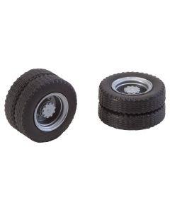 Faller 2 complete wielen (tweelingsbanden) banden en velgen voor vrachtwagen 163101